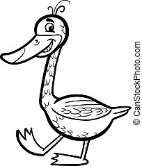 goose cartoon illustration for coloring