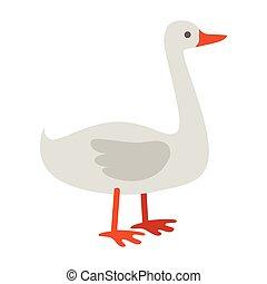 Goose Flat Design Vector Illustration on White.