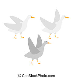 Goose flat illustration. Illustration of a goose on white...