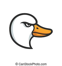 Goose head illustration - Angry goose head illustration in...