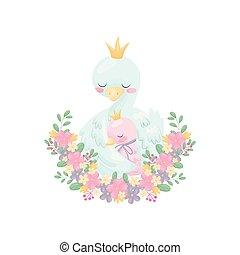 Goose hugs his wings gosling. Vector illustration on white...