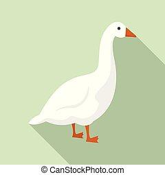 Goose icon, flat style - Goose icon. Flat illustration of...