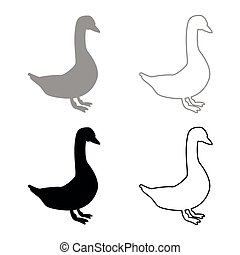Goose icon set grey black color outline