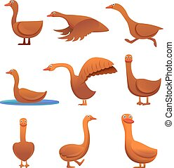 Goose icons set, cartoon style - Goose icons set. Cartoon...