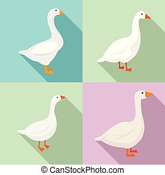 Goose icons set, flat style - Goose icons set. Flat set of...