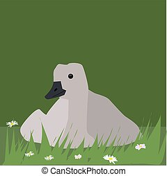 Goose in grass, illustration, vector on white background.