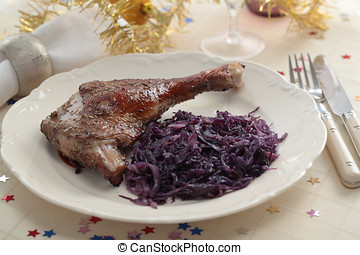 Goose leg on a Christmas table