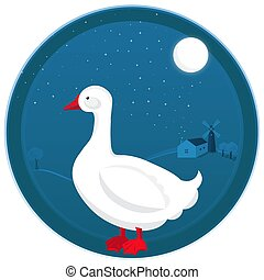 Goose vector illustration at farm night landscape