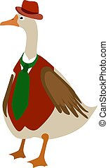Goose with red hat, illustration, vector on white background.