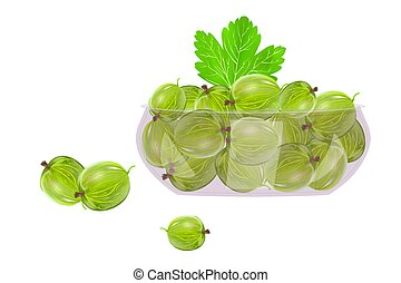 Gooseberries in glass bowl isolated on white background. - ...