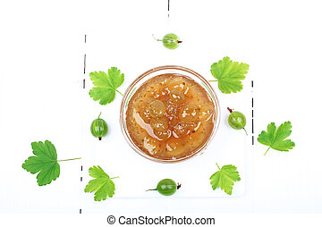 gooseberry jam on a white wooden background top view view from above