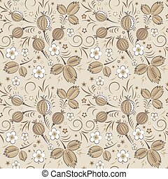 Gooseberry seamless pattern in beige color scheme