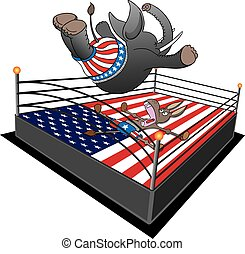 GOP Smackdown - Republican elephant is doing swan dive on...