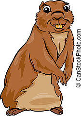 gopher animal cartoon illustration - Cartoon Illustration of...