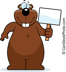 Gopher Sign - A happy cartoon gopher with a sign.