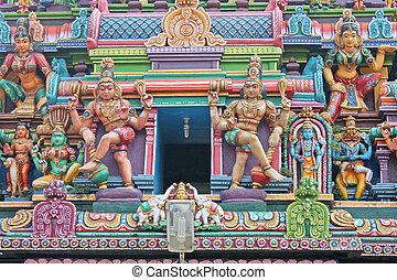 Gopuram (tower) of Hindu temple, Allepey, Kerala, India