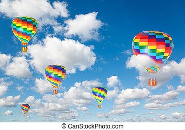 gorące lotnicze balony, na białym, puszysty, chmury, w, błękitne niebo, collage