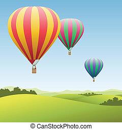 gorący, balony, powietrze