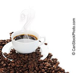 gorący, brzeg, kawa