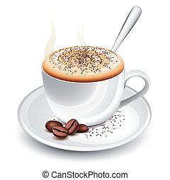 gorący, cappuccino, filiżanka