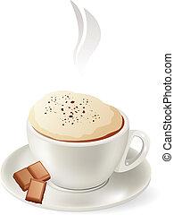 gorący, cappuccino, odizolowany, filiżanka