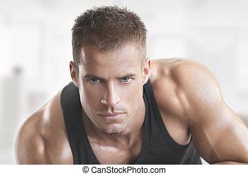 gorący, facet, muskularny