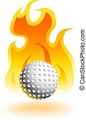 gorący, piłka, golf