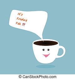 gorący, szczęśliwy, piątek, filiżanka, wektor, kawa, bańka