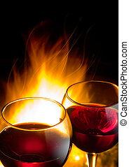 gorący, wino, noc