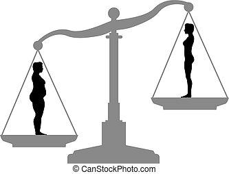 gorda, ajustar, perda peso, dieta, escala, antes de, após