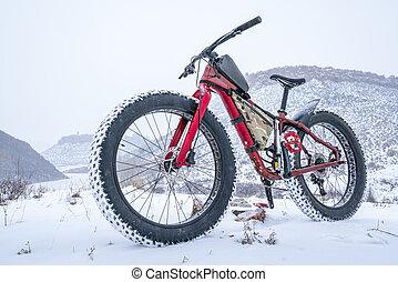 gorda, bicicleta, em, um, neve, blizzard