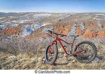 gorda, bicicleta, ligado, um, deserto, rastro, em, norte, colorado