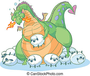 gorda, caricatura, dragão, com, sheep