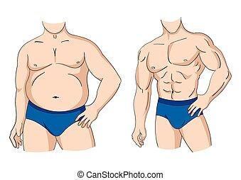 gorda, e, ajustar, homem, postura
