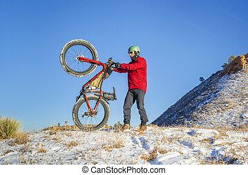gorda, equitação bicicleta, em, inverno, colorado, paisagem