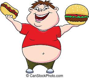 gorda, menino, com, hambúrguer, e, cachorro quente