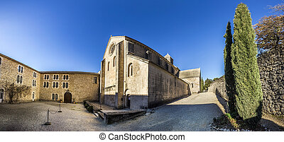 Senanque Abbey - GORDES, FRANCE - DEC 10, 2015: Back of the ...