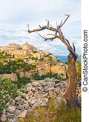 Gordes Provence Stone Village Tree Framed