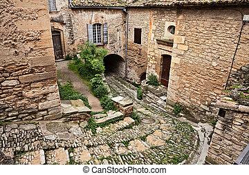 gordes, vaucluse, provence, france:, uralt, gasse, in, der, alte stadt