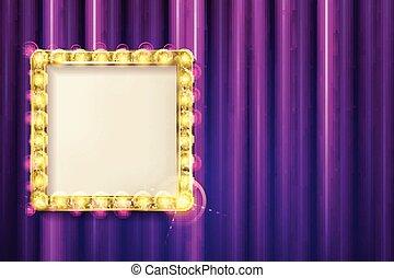 gordijn, frame, opgeschort, goud, rood