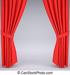 gordijn, open, rood