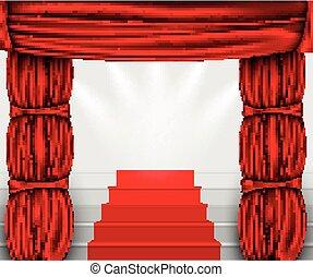 gordijn, podium, zijde, trap, kolommen