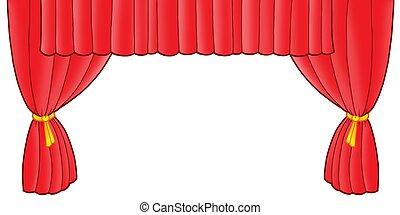 gordijn, rood, theater