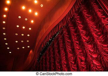 gordijn, theater, rood, toneel