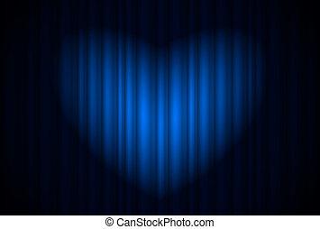 gordijn, toneel, hartvormig, blauwe , schijnwerper, groot