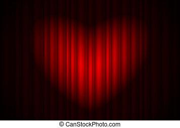 gordijn, toneel, hartvormig, schijnwerper, groot, rood