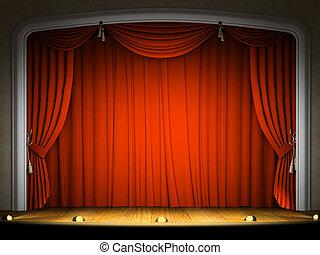 gordijn, toneel, lege, verwachting, opvoering, rood