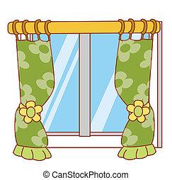 gordijn, venster