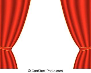 gordijn, witte , theater, rode achtergrond