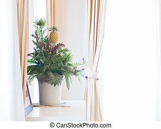 gordijnen, bouquetten, frame, kunstmatig, venster, bloemen, sill